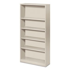 Hon Metal Bookcase, Five-Shelf, 34-1/2W X 12-5/8D X 71H, Light Gray