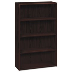 10700 Series Wood Bookcase, Four Shelf, 36w x 13 1/8d x 57 1/8h, Mahogany