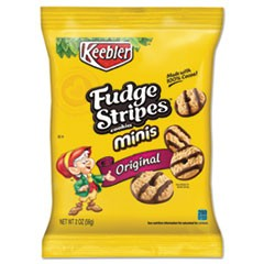 Mini Cookies, Fudge Stripes, 2 oz Snack Pack, 8/Box