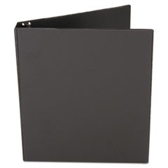 "Economy Non-View Round Ring Binder, 1/2"" Capacity, Black"