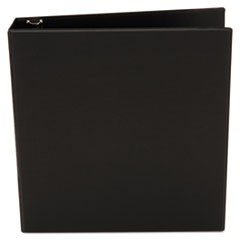 "Economy Non-View Round Ring Binder, 1-1/2"" Capacity, Black"