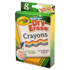 Washable Dry Erase Crayons w/E-Z Erase Cloth, Assorted Colors, 8/Pack