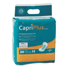 "Capri Plus Bladder Control Pads, Extra Plus, 6.5"" x 13.5"", 28/Pack"