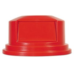 "Round BRUTE Dome Top Lid for 55 gal Waste Containers, 27.25"" diameter, Red"