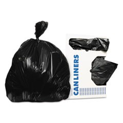 Low-Density Can Liners, 56 gal, 0.9 mil, 43 x 47, Black, 100/Carton