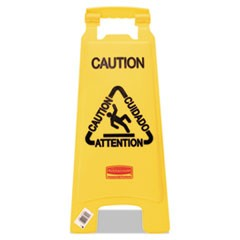 "Multilingual ""Caution"" Floor Sign, Plastic, 11 x 12 x 25, Bright Yellow"