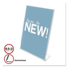 Classic Image Slanted Sign Holder, Portrait, 8 1/2 x 11 Insert, Clear