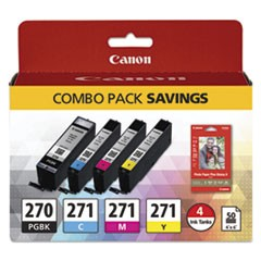 0373C005 (PGI-270; CLI-271) Inks & Paper Pack, Black/Tri-Color