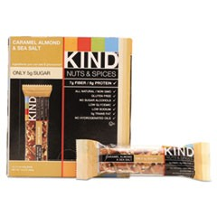 Nuts and Spices Bar, Caramel Almond and Sea Salt, 1.4 oz Bar, 12/Box