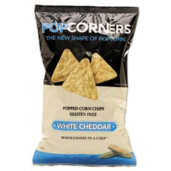 Popcorners Popped-Corn Chips, White Cheddar, 5oz Bag, 12/Carton