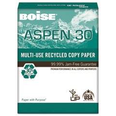 ASPEN 30% Recycled Multi-Use Paper, 92 Bright, 20lb, 8 1/2 x 11, White
