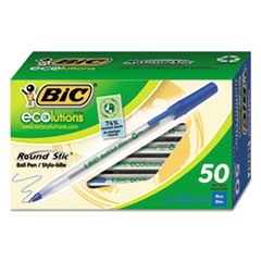 Ecolutions Round Stic Stick Ballpoint Pen, 1mm, Blue Ink, Clear Barrel, 50/Pack