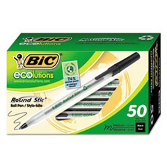 Ecolutions Round Stic Stick Ballpoint Pen, 1mm, Black Ink, Clear Barrel, 50/Pack