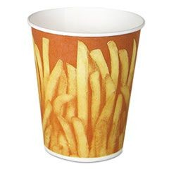 Paper French Fry Cups, 16 oz,Yellow/Brown Fry Design, 50/Bag, 20 Bag/Carton
