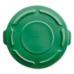 "Vented Round Brute Lid f/20-Gl Round Brute Container,19 7/8""dia, Dark Green,6/CT"