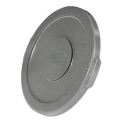 "Round Flat Top Lid, for 10-Gallon Round Brute Containers, 16"", dia., Gray"