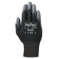 HyFlex Lite Gloves, Black/Gray, Size 9, 12 Pairs