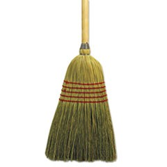 "Parlor Broom, Corn Fiber Bristles, 42"" Wood Handle, Natural"