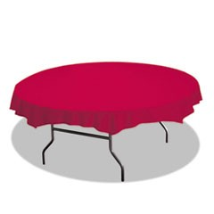 "Octy-Round Plastic Tablecover, 82"" Diameter, Red, 12/Carton"