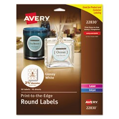 "Round True Print Labels, 2 1/2"" dia, White, 90/Pack"