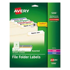 Permanent TrueBlock File Folder Labels w/SureFeed, Inkjet/Laser, Assorted,750/PK