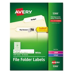 Permanent File Folder Labels, TrueBlock, Inkjet/Laser, White, 1500/Box