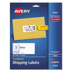 Shipping Labels w/ TrueBlock Technology, Inkjet Printers, 2 x 4, White, 10/Sheet, 25 Sheets/Pack