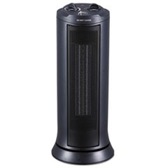"Mini Tower Ceramic Heater, 7 3/8""w x 7 3/8""d x 17 3/8""h, Black"