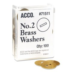 "Washers for Two-Prong Fasteners, #2, 1.25"" Diameter, Brass, 100/Box"