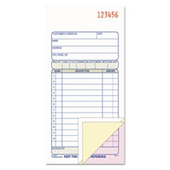 Carbonless Sales Order Book, Three-Part Carbonless, 3 1/4 x 7 1/8, 50 sheets