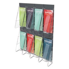 Stand-Tall 8-Bin Wall-Mount Literature Rack, Leaflet, 18.25 x 23.5, Clear/Black