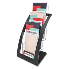 3-Tier Literature Holder, Leaflet Size, 6.75w x 6.94d x 13.31h, Black