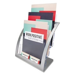 3-Tier Literature Holder, Leaflet Size, 11 1/4 x 6 15/16 x 13 5/16, Silver