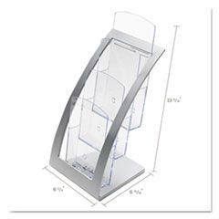 Three-Tier Leaflet Holder, 6-3/4w x 6-15/16d x 13-5/16h, Silver