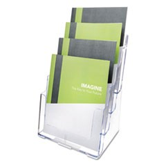 4-Compartment DocuHolder, Magazine Size, 9 1/4 x 7 x 13 1/2, Clear