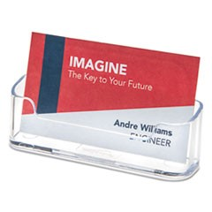 Deflecto Horizontal Business Card Holder, 50 Card Cap, 3 7/8 X 1 13/16 X 1 3/8, Clear