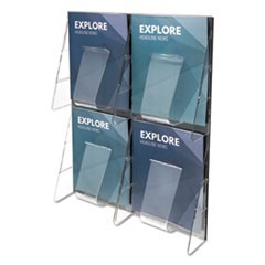 Stand-Tall 4-Bin Wall-Mount Literature Rack, Mag, 18 1/4 x 23 1/2, Clear/Black