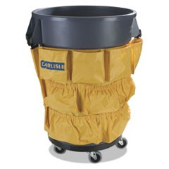 Carlislebronco Waste Container Caddy Bag, 12 Pocket, 31W X 19.75H, Yellow, 12/Carton