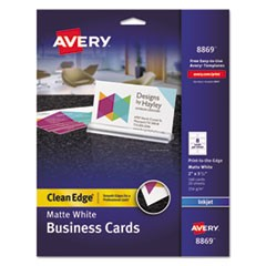 Print-to-the-Edge True Print Business Cards, Inkjet, 2x3 1/2, Wht, 160/Pk