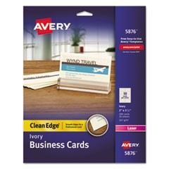 Clean Edge Business Cards, Laser, 2 x 3 1/2, Ivory, 200/Pack