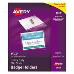 Avery Heavy-Duty Clip-Style Badge Holders, Horizontal, 4 X 3, Clear, 100/Box