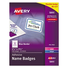 Flexible Adhesive Name Badge Labels, 3.38 x 2.33, White/Blue Border, 400/Box