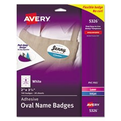 Oval Self-Adhesive Laser/Inkjet Name Badge Label, 2 x 3 1/4, White, 160/PK