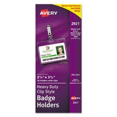 Avery Secure Top Clip-Style Badge Holders, Horizontal, 2 1/4 X 3 1/2, Clear, 50/Box
