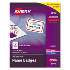 Avery Flexible Adhesive Name Badge Labels, 3.38 X 2.33, White/Red Border, 400/Box