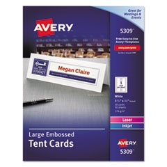 Large Embossed Tent Card, White, 3 1/2 x 11, 1 Card/Sheet, 50/Box