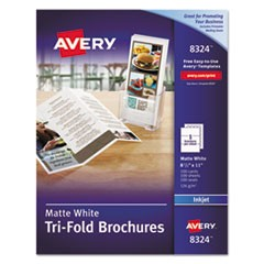 Tri-Fold Brochures, 92 Bright, 83lb, 8.5 x 11, Matte White, 100/Pack