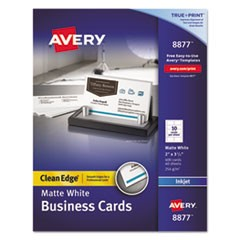 True Print Clean Edge Business Cards, Inkjet, 2 x 3 1/2, White, 400/Box