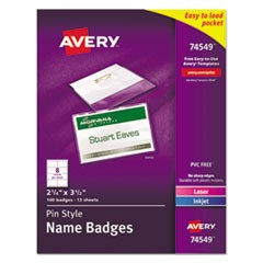 Pin-Style Name Badge Holders w/Inserts, Top Load, 2 1/4 x 3 1/2, White, 100/BX