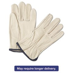 4000 Series Leather Driver Gloves, White, Large, 12 Pairs